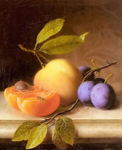 Oil-painting-joseph-peter-wilms-still-life-with-peach-and-plum-free-shipping