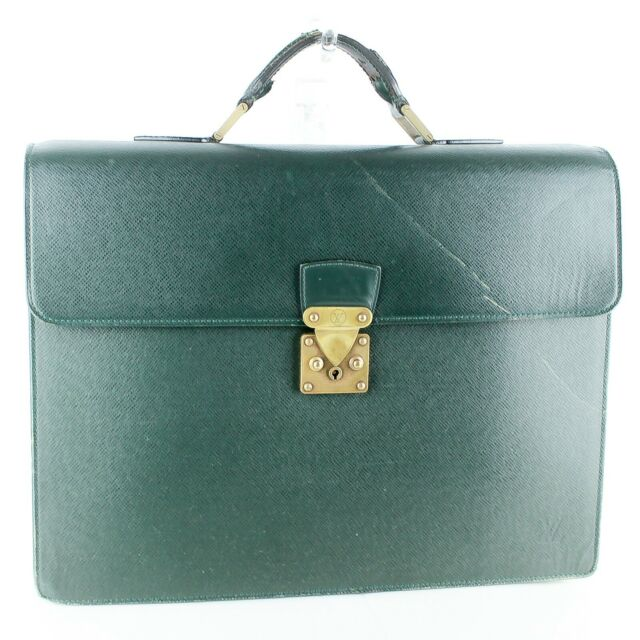 Auth LOUIS VUITTON SERVIETTE MOSKOVA Business Hand Bag Briefcase Taiga JUNK