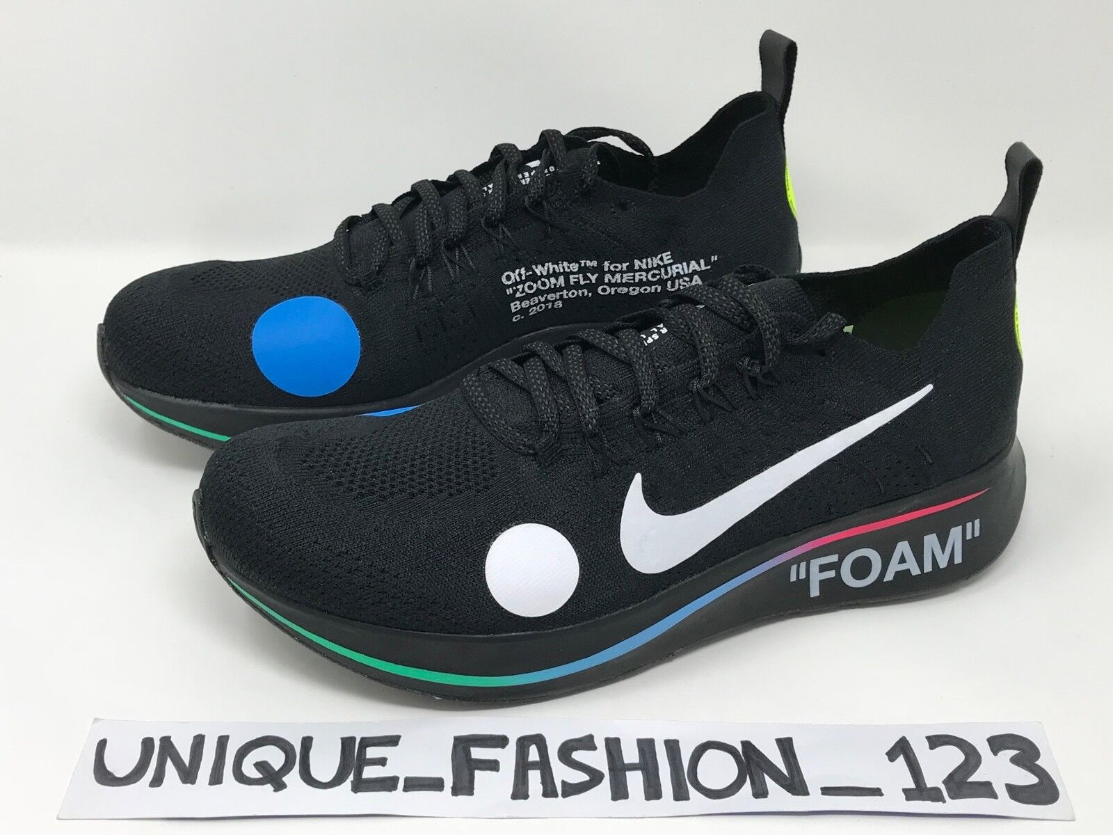 NIKE ZOOM FLY MERCURIAL X OFF WHITE BLACK FLYKNIT FOOTBALL