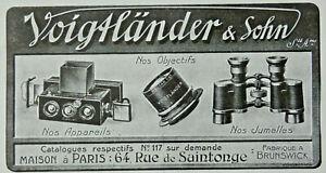 PUBLICITE-DE-PRESSE-1914-VOIGTLANDER-amp-SOHN-APPAREILS-OBJECTIFS-JUMELLES