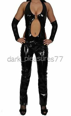 ALLURE SEXY FETISH GOTHIC UNDERWORLD VINYL LATEX PVC PANTS CATSUIT GOTH BLACK