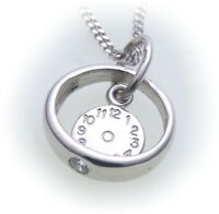 Set Christening Ring Watch & Curb Chain 333 White Gold Brilllant 0, 03ct 8 Kt