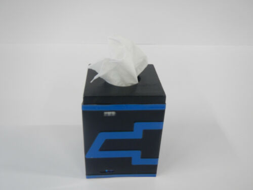 Tissue Box Cover License Plate Chevy Bow Tie Chevrolet Blue Black Home Decor