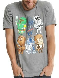 Star-Wars-Cartoon-Characters-Grey-Heather-Men-039-s-T-Shirt-New