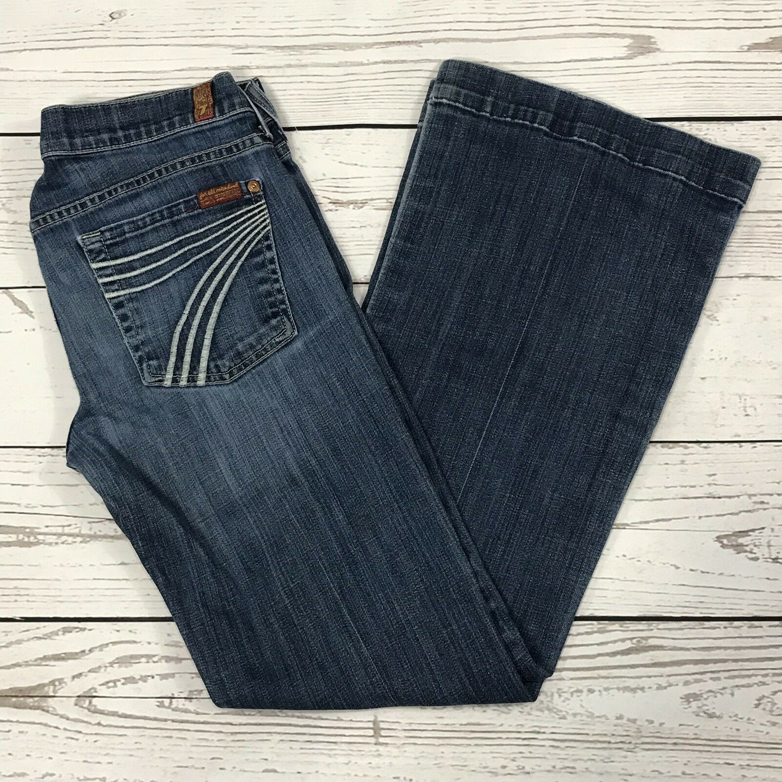 7 For All Mankind DOJO Womens SZ 29 Bootcut Flare Whiskered Low-Rise bluee Jeans