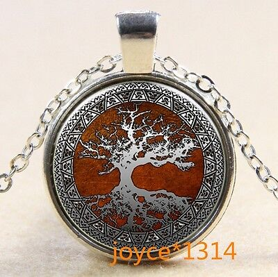 Vintage Tree of Life Cabochon Tibetan silver Glass Chain Pendant Necklace #530