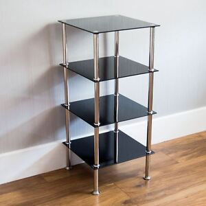 4 Tier Glass Shelf Unit Black Shelving Storage Square Modern Furniture