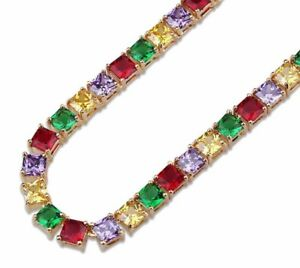 1-3Ct-Princess-Multi-Color-18k-Yellow-Gold-Over-Tennis-24-034-Chain-Hip-Hop-Necklace