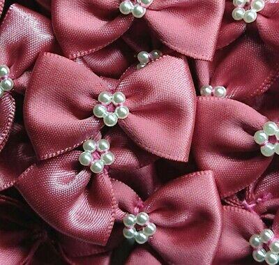 10 x PASTEL PEACH 3.5cm Satin Ready Made Mini Ribbon /& Pearl Craft Bows Bow Ties