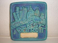 Large Pewabic Pottery Tile Vintage Best of Detroit Metro Times 1992 4.5 Pounds