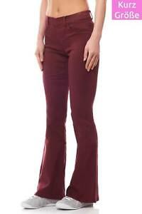 Laura Scott stylische Stoffhose Damen Samt-Hose Stretch Weinrot High Waist Slim