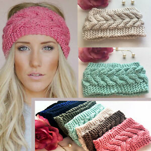 Uk Ladies Knitted Ear Warmer Headband Crochet Hat Wool Winter Beanie