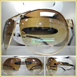 c1170a37dc Men s Classic Vintage Retro Style SUN GLASSES Gold   Brown Frame ...