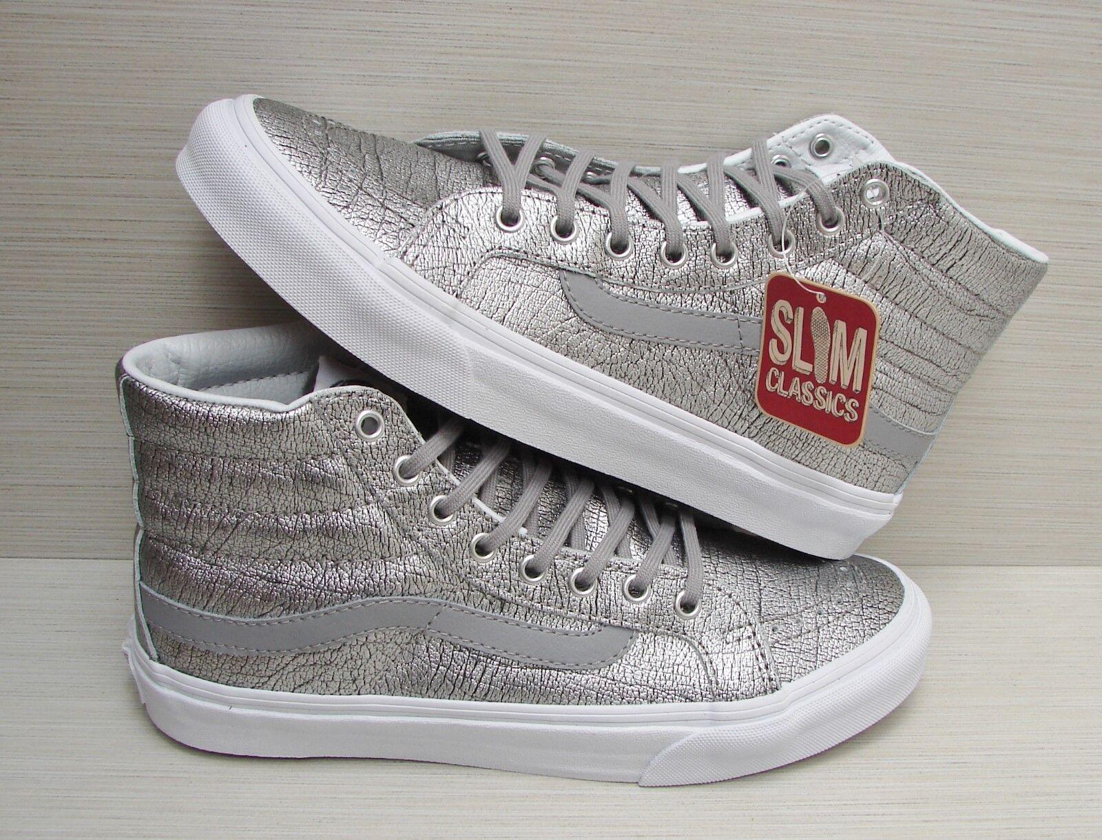 Vans SK8 Hi Slim Foil Metallic Silver True White VN00018IHTI Women's Size 9.5