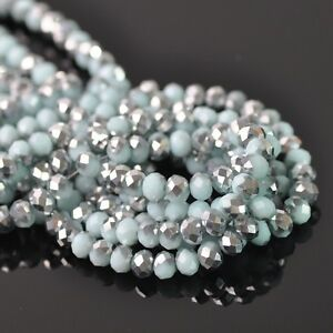 200pcs-3mm-Rondelle-Faceted-Crystal-Glass-Loose-Beads-Silver-amp-Opaque-Lt-Lake-Blue