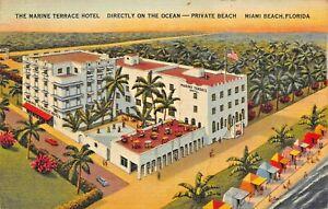 MIAMI-BEACH-FLORIDA-MARINE-TERRACE-HOTEL-DIRECTLY-ON-OCEAN-1941-PSTMK-POSTCARD