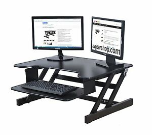 "Black Finish Sale Price Adr 32"" Wide Objective Rocelco Height Adjustable Standing Desk Riser"
