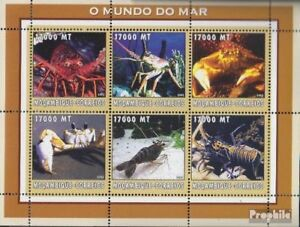 Stamps Mozambique 2578-2583 Sheetlet Unmounted Mint Never Hinged 2002 World Of Marine Shrink-Proof