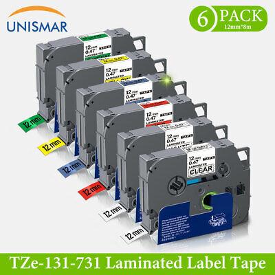 6x TZe-131-731 TZe-231 12mm Schriftband Kompatibel Brother P-Touch PT-1010 1000