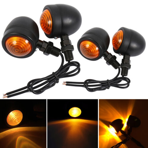 4x Universal Bullet Metal Motorcycle Motorbike Turn Signal Lights Indicators