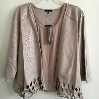 Samuel Dong Open Cardigan Jacket And Tank Set Taupe Perforated Bottom L