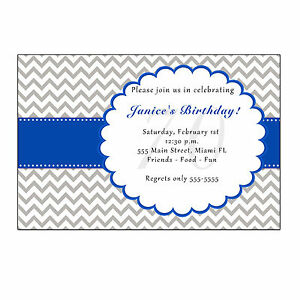 30 Truck Invitation Cards Blue Chevron Baby Boy Shower Invite Personalized A1
