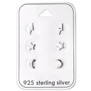 925-Sterling-Silver-Lightning-Bolts-Star-Moon-Stud-Earrings-Children-Women-Men