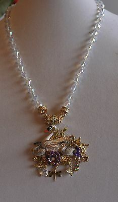 KIRKS FOLLY FAIRY LAND SWAN MAGNETIC ENHANCER WITH DESIRE NECKLACE GOLD TONE