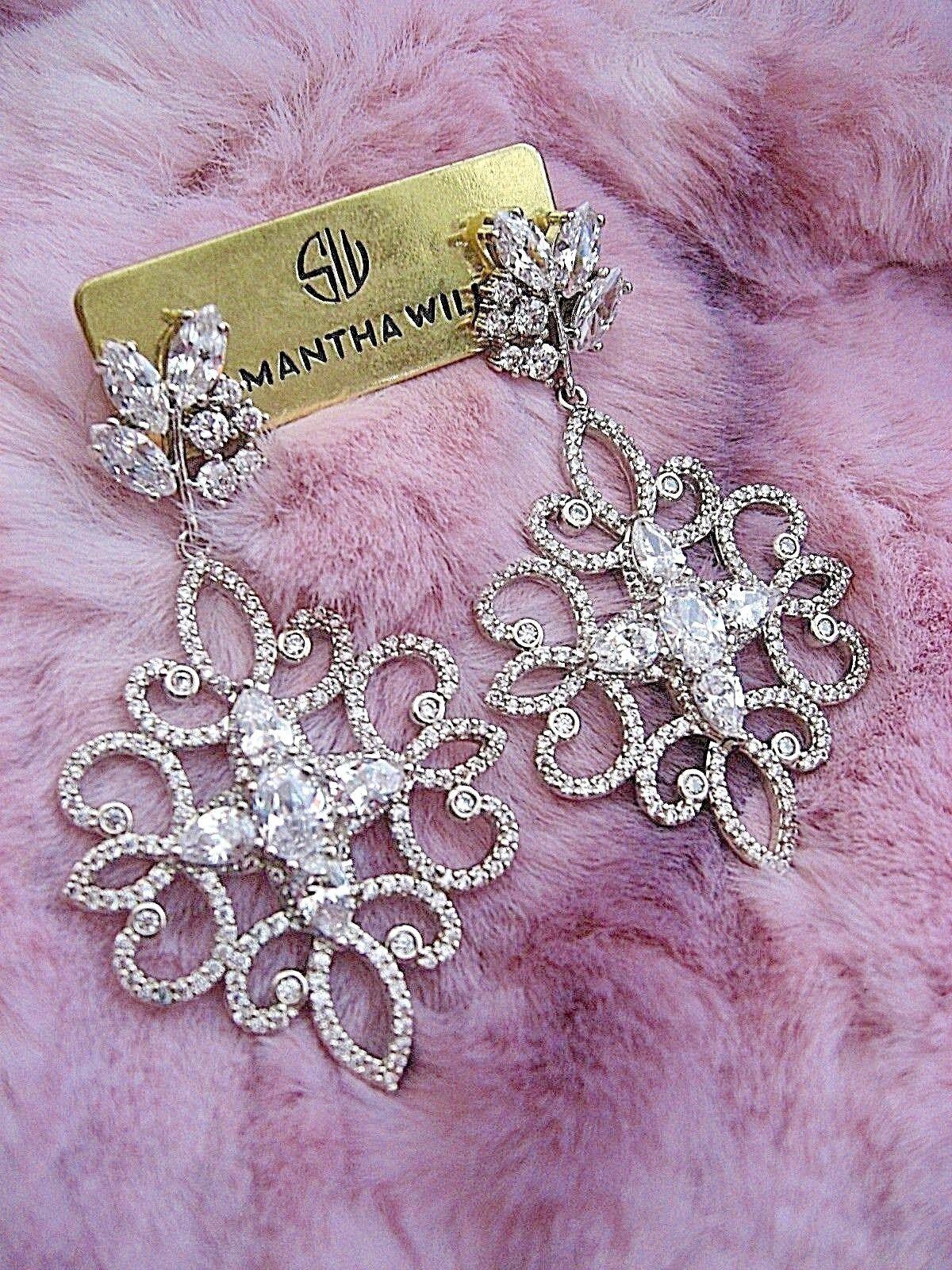 Samantha Wills Earrings Bridal Crystal Pave Dangle Dark Romance Grand NWT  219