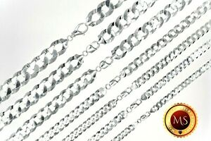 All Sizes 925 Solid Sterling Silver FLAT CUBAN CURB Chain Necklace or Bracelet