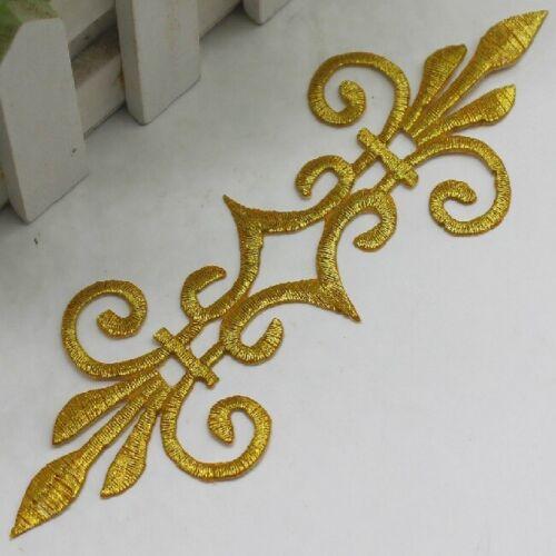 Emblème fleur de lys ** 17 x 5,5 cm ** APPLIQUE PATCH ÉCUSSON thermocollant