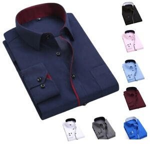 New-Men-039-s-Shirts-Casual-Formal-Slim-Fit-Shirt-Top-Long-Sleeve-PS27