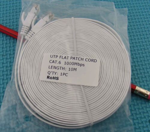 White Ethernet cable CAT6 30 ft  10m Network CAT RJ45 Patch Cord Internet cat.6