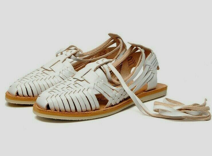 CHAMULA SAYULITA WOMENS WHITE WOVEN LEATHER SANDALS SHOES 10 NEW