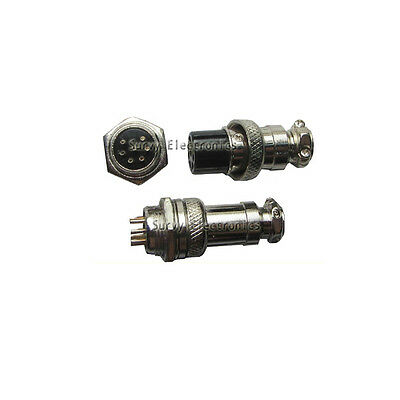 2pcs Aviation Plug Male Female Panel Power Chassis Metal Connector 16mm 6-Pin GX