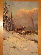 NR.120 / AK Kunstpostkarte röhrender Hirsch Nr.2082 Kunstverlag Rehn & Linzen
