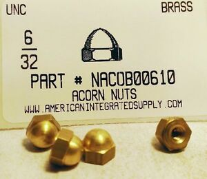 50 6-32 Brass Acorn Dome Cap Hex Nut  #6 x 32 Nuts 6x32 Nut  6//32