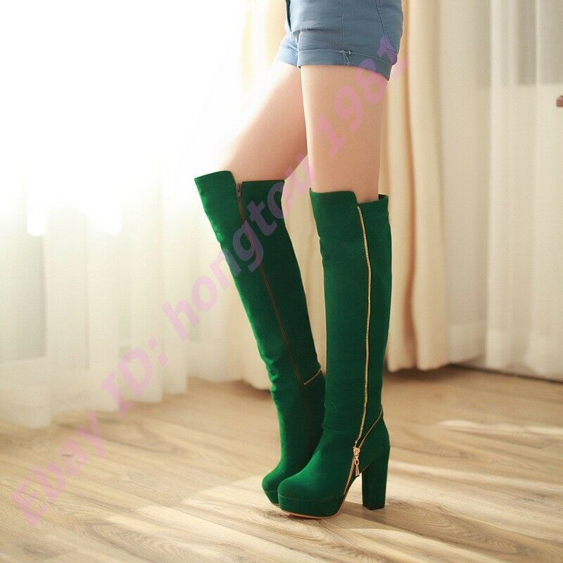 Womens High Block Heel Plaforms Side Zipper Over the Knee High Boots Faux Suede