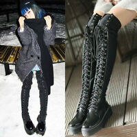 Womens Genuine Leather Lace Up Thigh High Over Knee Boots Platform Creepers PUNK