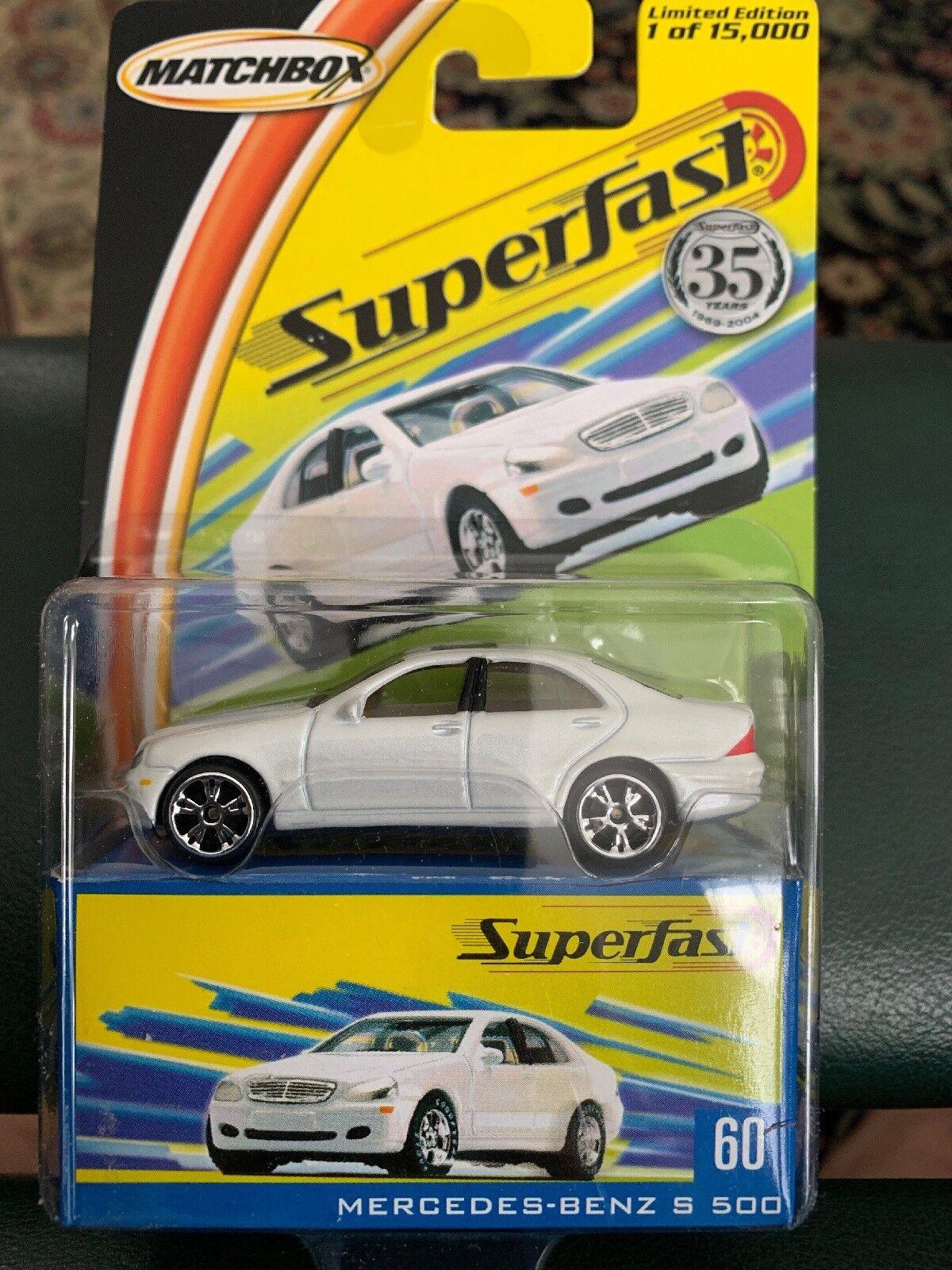 Matchbox Mercedes Benz Benz Benz S 500 blancoo Larga Tarjeta Con Caja Superfast d0d906