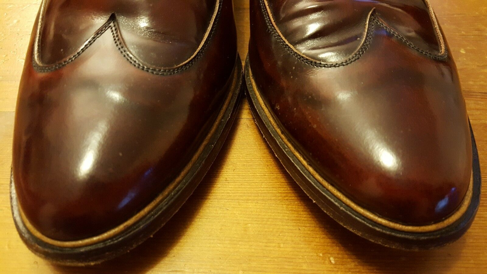 Vintage, Stacy Adams, Burnished braun, braun, braun, Patent Leather, Loafer Wing Tips (Sz 11) ae5959