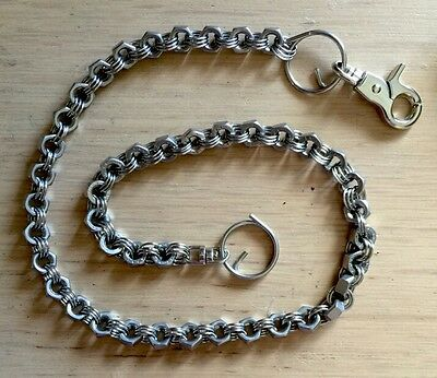 Black /& Silver Rockabilly Biker SteamPunk Hex Nut Stainless Steel Wallet Chain