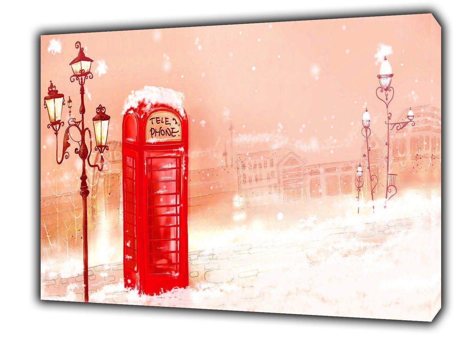 LONDON WINTER SNOW rot PHONE BOX PRINT ON WOOD FRAMED CANVAS WALL ART DECOR