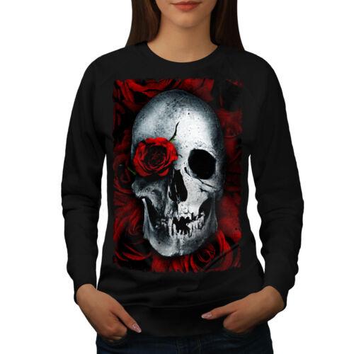 Wellcoda Skulls Rose Flower Womens Sweatshirt Biker Casual Pullover Jumper