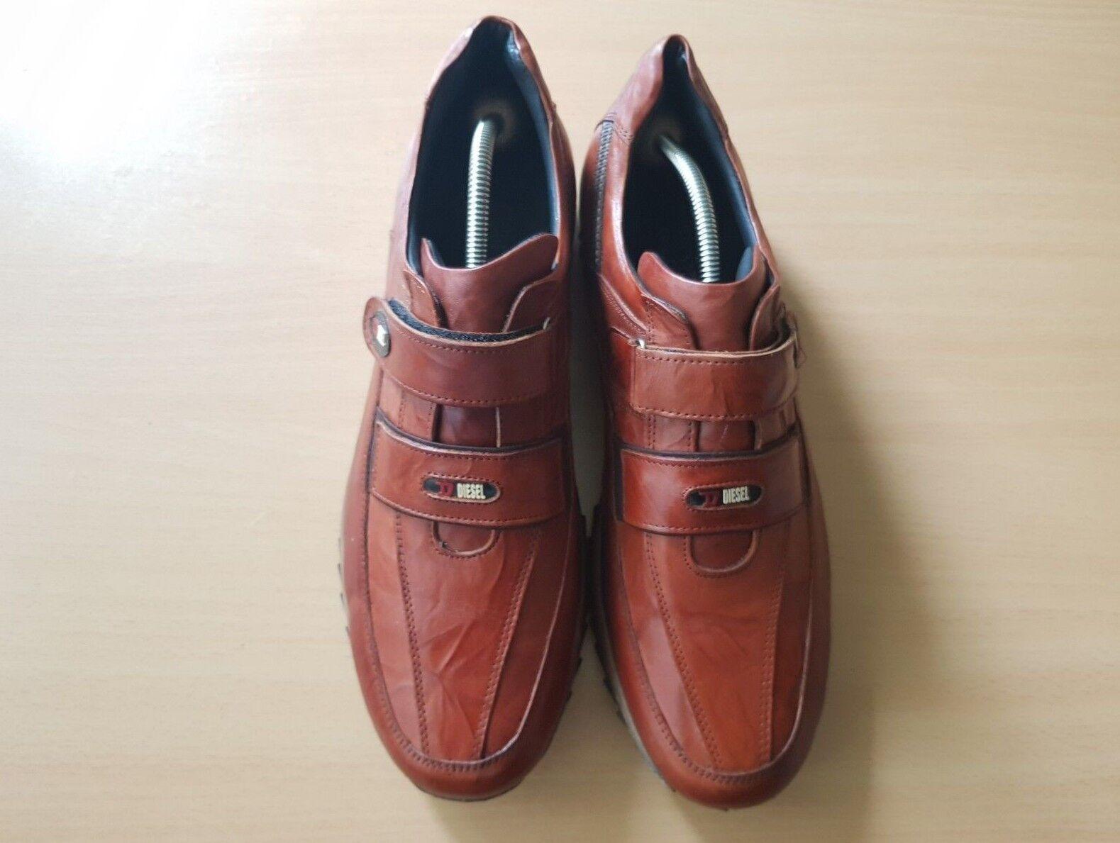 Diesel Herren Schuhe Halbschuhe Klettleder braun Gr. 46