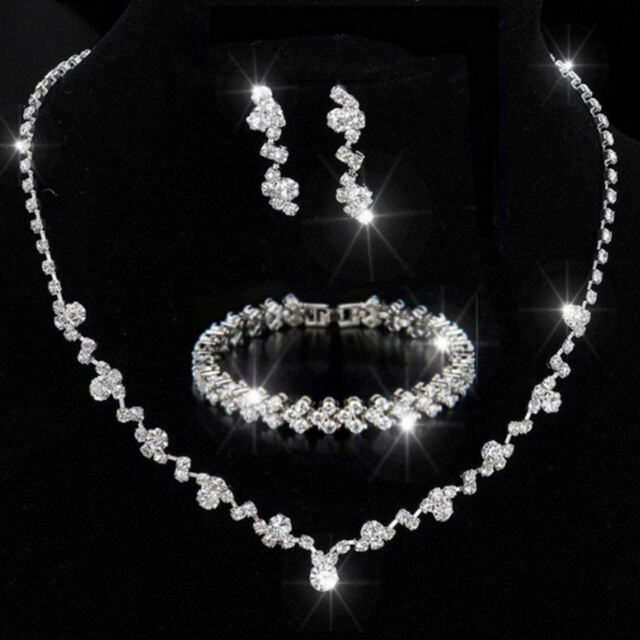 Bridesmaid Crystal Necklace Earrings Bracelet Set Wedding Bridal Jewellery Gifts
