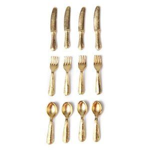 1-12-Puppenhaus-Miniatur-Edelstahl-Geschirr-Set-12-Stueck-Gold-GY