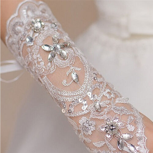 Bride White Gloves Beads Embroidery Beaded Short Wedding Dress Bridal Glove/_ws