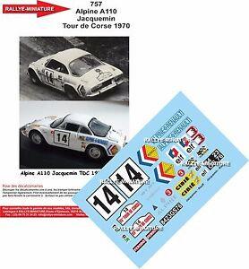 DECALS 1//43 REF 0430 ALPINE RENAULT A110 NICOLAS TOUR DE CORSE 1975 WRC RALLY
