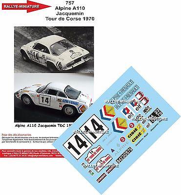 DECALS 1//43 REF 758 ALPINE RENAULT A110 SERPAGGI TOUR DE CORSE 1970 RALLYE RALLY